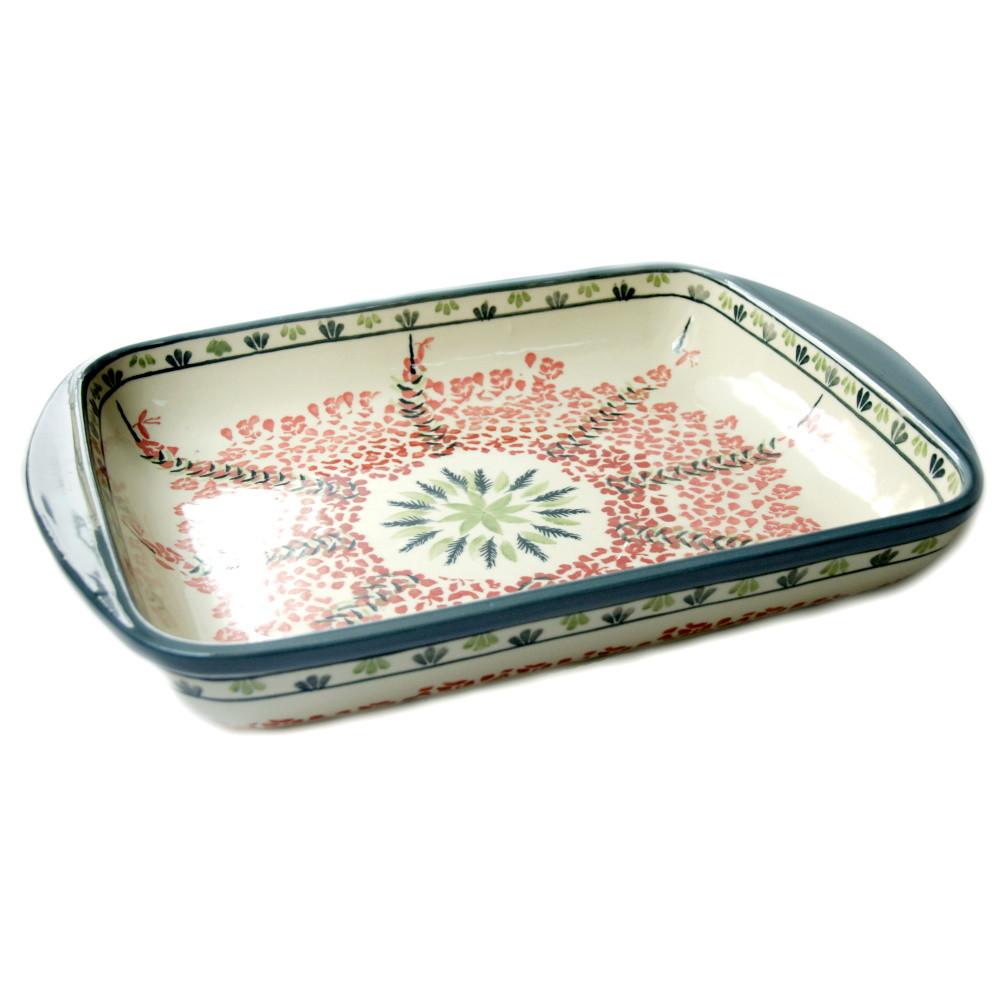Прямоугольная форма для выпечки и запекания керамическая средняя 34 х 26 с ушками Tissue