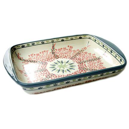 Прямоугольная форма для выпечки и запекания керамическая средняя 34 х 26 с ушками Tissue, фото 2