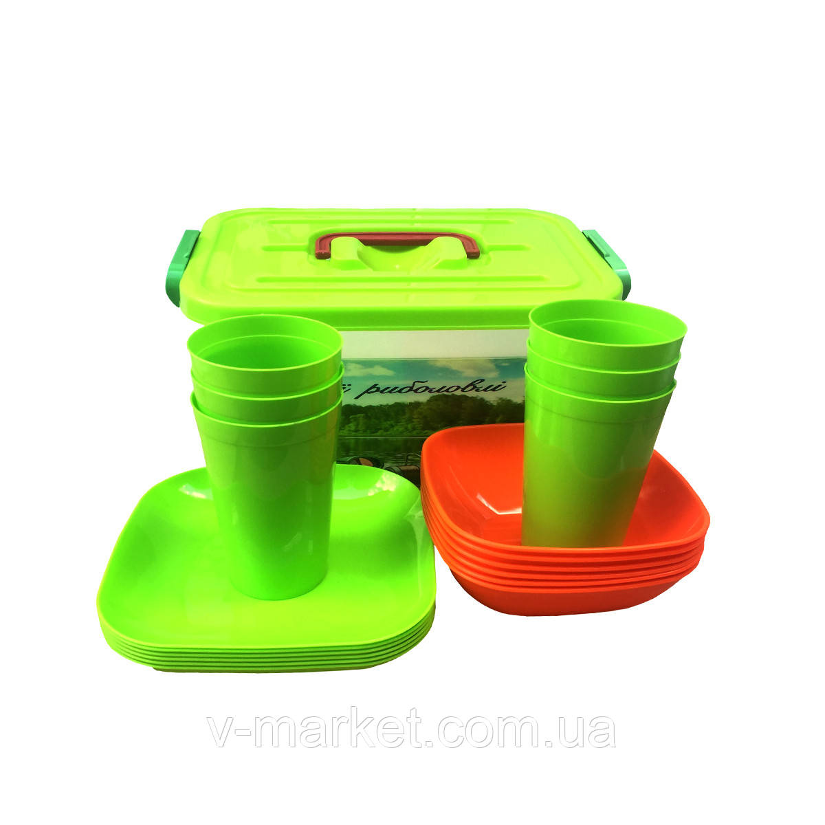 """Набор пластиковой посуды и приборов """"Пикник"""" на 12 человек"""