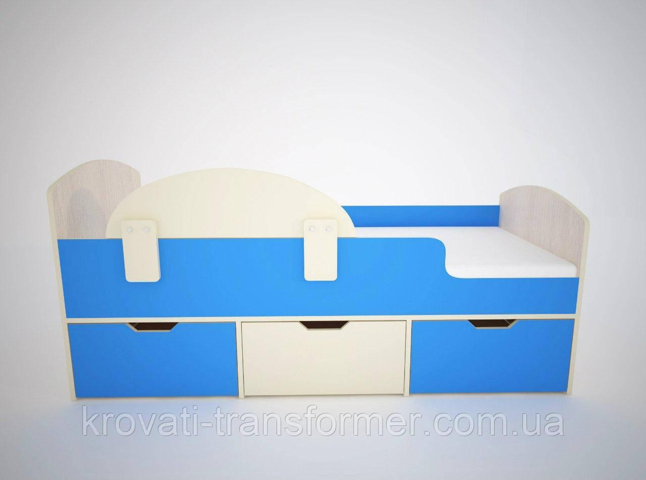 """Кровать """"Малыш"""" мармара голубая + дуб молочный"""
