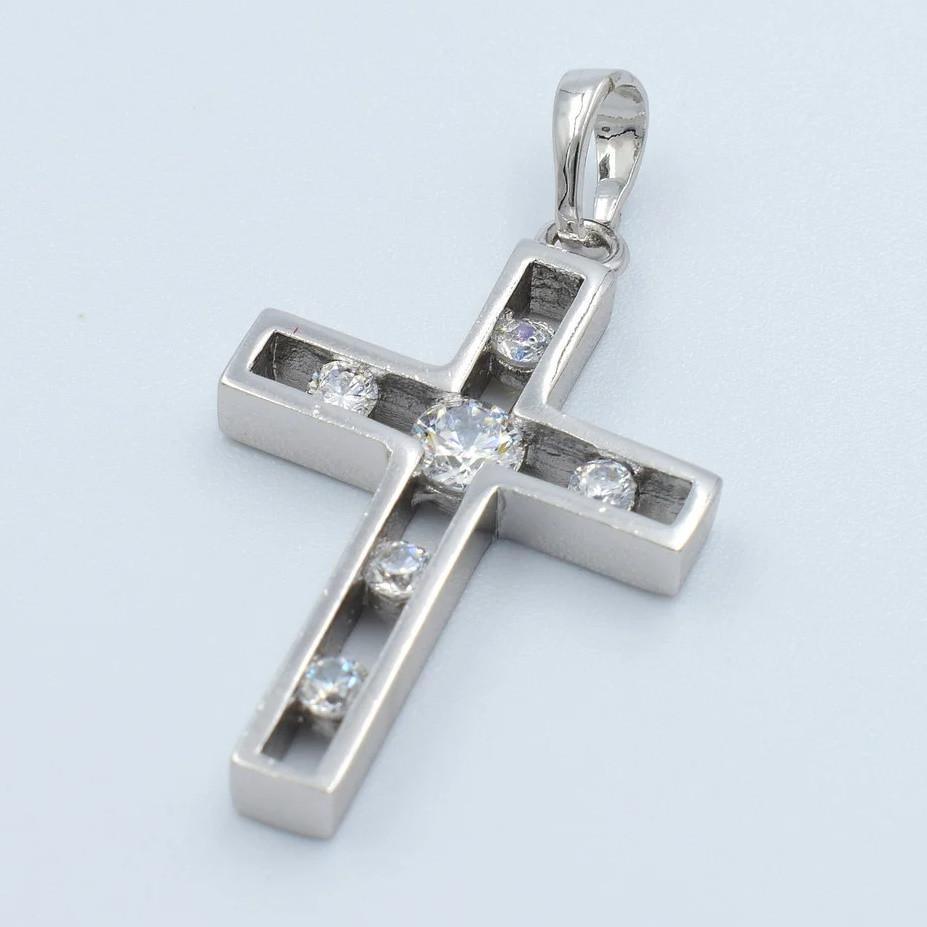 XUPING Кулон Крест Родий с белыми цирконами Высота 3.5см