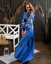 Платье с вышивкой в  стиле Петраковка