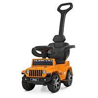 Каталка-толокар M 4247EL-7 оранжевый для детей в виде машинки