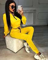 Женский яркий спортивный костюм желтый черный бежевый красный белый двунить стрейч 42 44 46