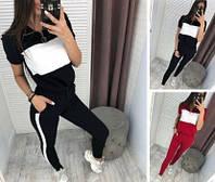 Женский летний спортивный костюм красный черный футболка брюки в полоску двунить 42 44 46