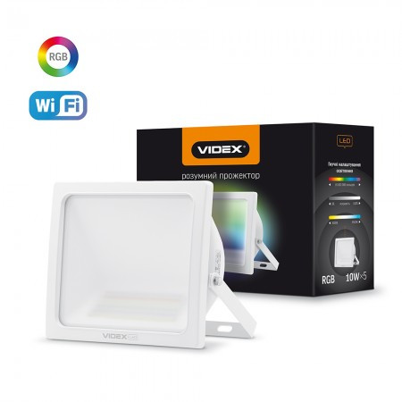 Прожектор 5*10W RGB Wi-Fi LED 3000-6500K 220V 900Lm VIDEX