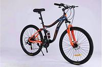 Спортивный велосипед  горный двухподвесный TopRider-910 26 дюймов Шимано Дисковые тормоза, оранжево-синий