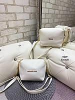 Женская сумка клатч белая маленькая сумочка через плечо кроссбоди молодежная кожзам