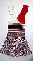 Платье для девочки 2338 синие с красным 152
