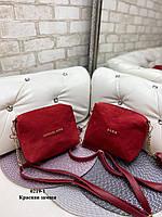 Замшевая женская сумка клатч красная маленькая сумочка через плечо кроссбоди замша+кожзам