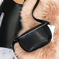 Поясная сумка женская из искусственной кожи бананка черная, фото 1