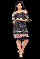 Летнее платье с открытыми плечами из вискозы с цветочным принтом K1900S-3 синее