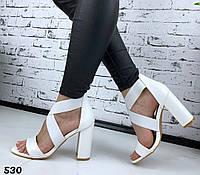 Женские белые босоножки на каблуке, ОВЛ 530, фото 1
