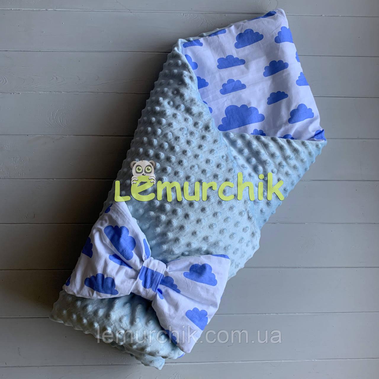 Конверт-одеяло минки на съемном синтепоне голубой Облачка