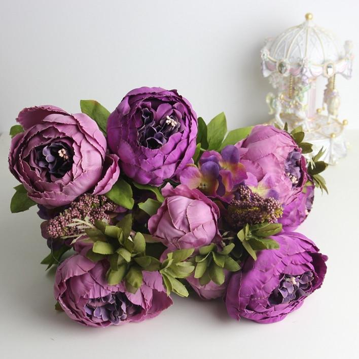 Композиция  пионов и гортензии,  48 см - фиолетовый