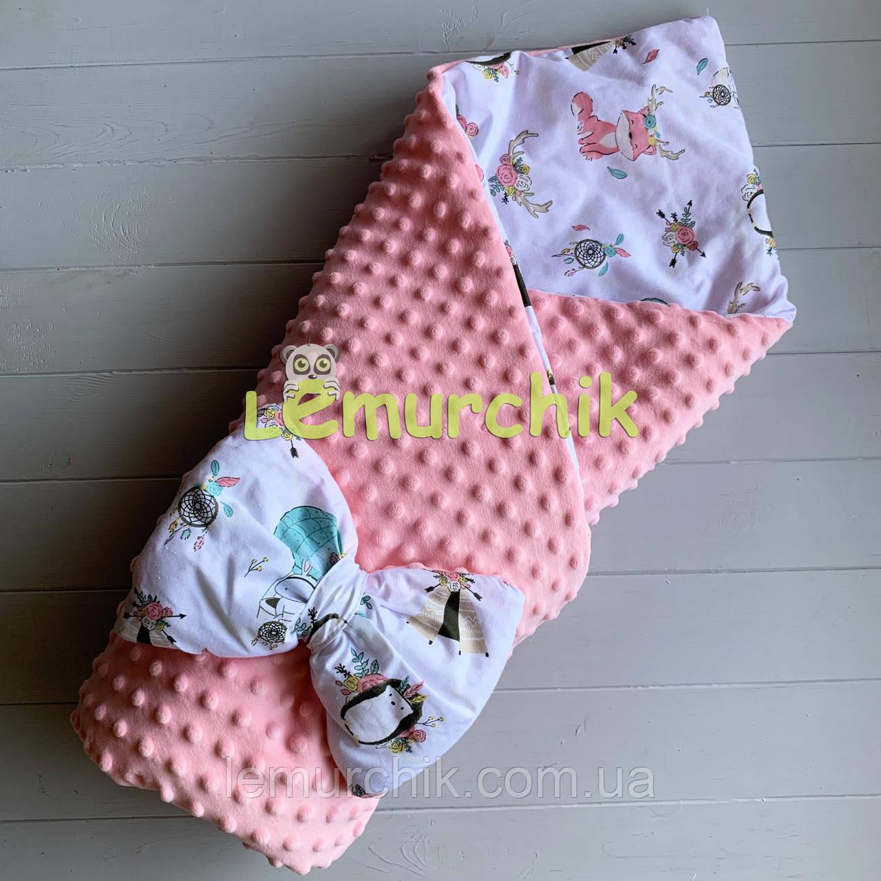 Конверт-ковдру минки на знімному синтепоні рожевий Лісові звірі