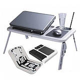 Столик-подставка для ноутбука E-Table с платформой для мышки и двумя кулерами для охлаждения, фото 4