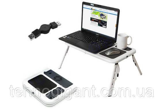 Столик-подставка для ноутбука E-Table с платформой для мышки и двумя кулерами для охлаждения