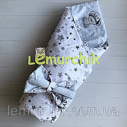 Конверт-одеяло двухсторонний, на съемном синтепоне, Мишка бой серый