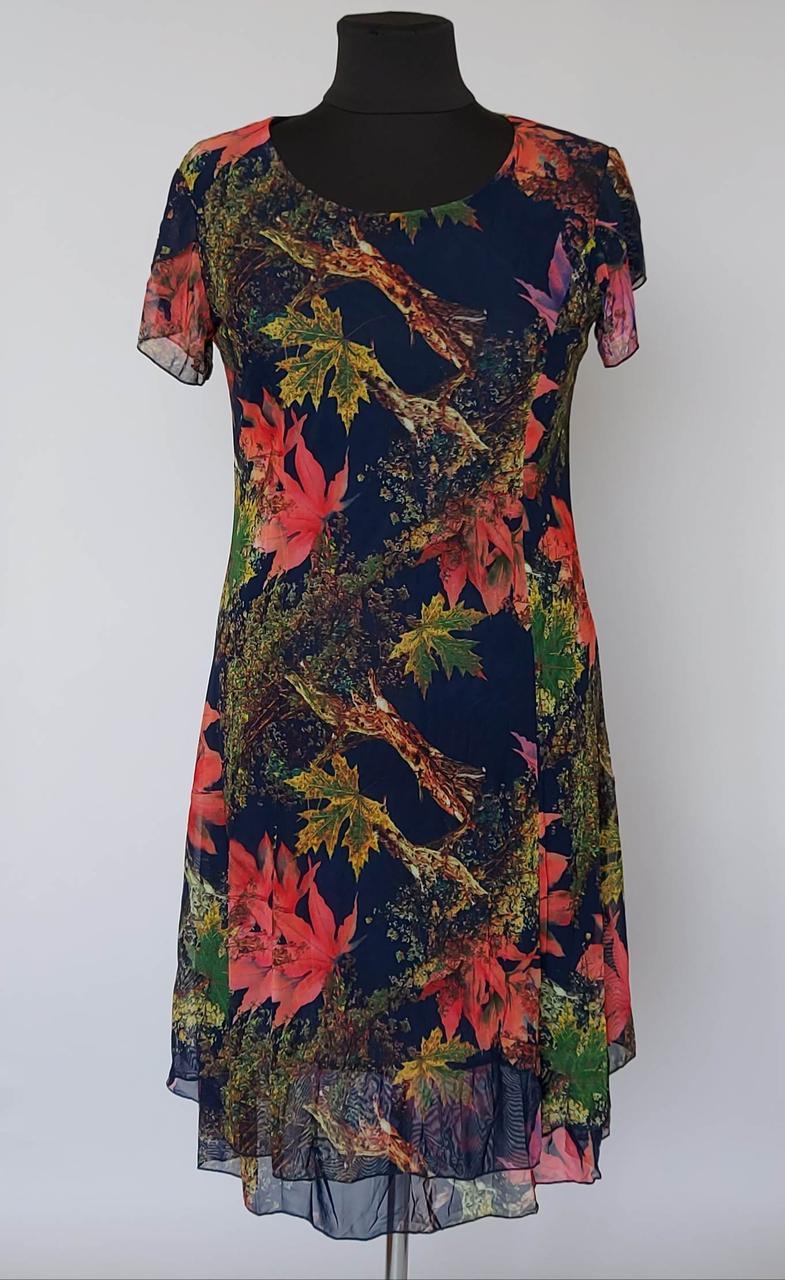 Женское платье «Кленовые листья» с короткими рукавами (50-58 р)