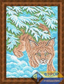 Схема для вышивки бисером картины Рысь на охоте (ЖБп3-004)