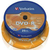 Диск DVD Verbatim 4.7Gb 16X CakeBox 25шт (43522)