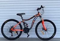 Спортивный велосипед  горный двухподвесный TopRider-910 26дюйма Шимано Дисковые тормоза, оранжевый