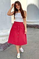 Модная юбка-миди с накладными карманами