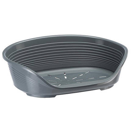 Пластиковий лежак з антиковзаючим покриттям Ferplast Siesta Deluxe 2 Grey, 49x36x17,5 см, фото 2