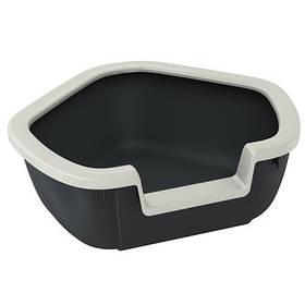 Угловой открытый туалет Ferplast Litter Tray Dama для кошек, 57,5x51,5x42 см