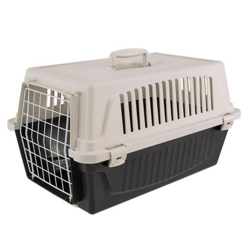 Переноска Ferplast Carrier Atlas 20 EL для кошек и собак, бело-чёрная, 58.5×37×32 см