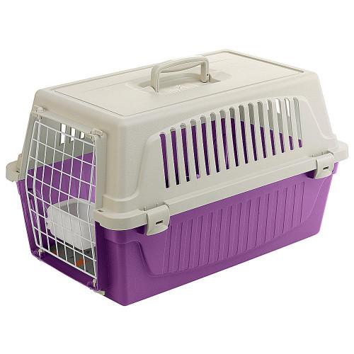 Переноска Ferplast Carrier Atlas 20 для кошек и собак, бело-фиолетовая, 58.5×37×32 см