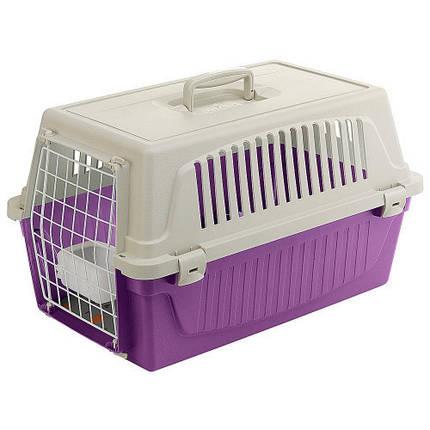 Переноска Ferplast Carrier Atlas 20 для кошек и собак, бело-фиолетовая, 58.5×37×32 см, фото 2