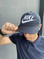 Бейсболка Кепка Найк стильная летняя сзади сетка синяя лого вышивка