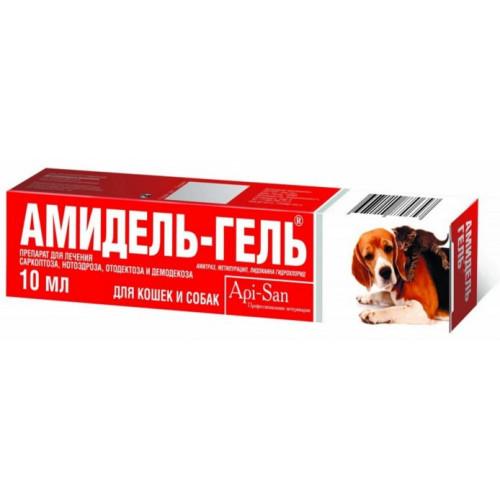 Гель Api-San Амидель-Гель для излечени демодекоза, отодектоза, саркоптоза для собак и кошек, 10 мл