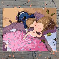 Картина для рисования по номерам  Поцелуй в щечку 40х50 см В коробке