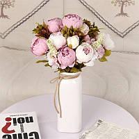 Композиция  пионов и гортензии,  48 см - светло розовато-сиреневый и шампань