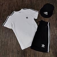 Мужской комплект летний в стиле Adidas| футболка | шорты |панама Цвета: черный, белый, красный