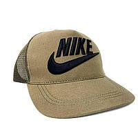 Бейсболка Кепка Найк стильная летняя сзади сетка коричневая лого вышивка