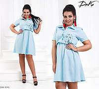 Женское льняное платье цвет голубой