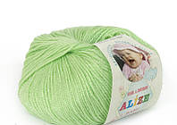 Пряжа Baby Wool 50гр - 175м (41 Салатовый) Alize, Детская пряжа (40%-шерсть, 20%-бамбук, 40%-акрил,Турция