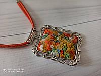 Стильный кулон  на кожаном шнуре  в подарок для девушки из муранского стекла, фото 1