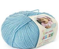 Пряжа Baby Wool 50гр - 175м (128 Голубой) Alize, Детская пряжа (40%-шерсть, 20%-бамбук, 40%-акрил,Турцию