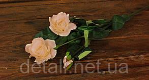 Искусственные цветы роза кремовая на ветке 3шт.