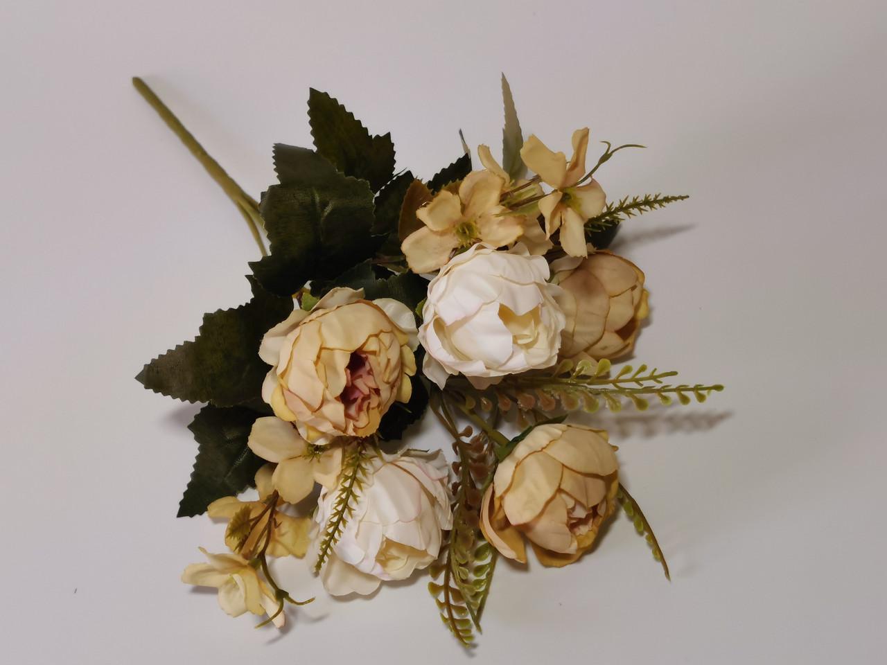 Искусственные цветы. Букет пиончиков, капучино.