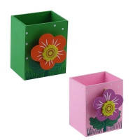 Стакан Подставка Цветок детский для ручек настольная деревянная 8,5*7*5см сувенирный подарочный