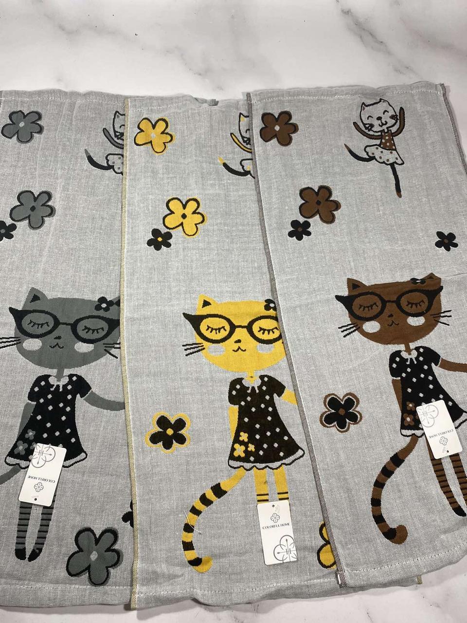 Полотенце банное Лен  Р.р 70*140 (кот в очках)