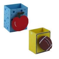 Стакан Подставка Фрукты детский для ручек настольная деревянная 8,5*7*5см сувенирный подарочный