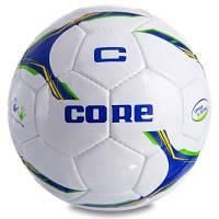 Мяч футбольный №5 PU SHINY CORE FIGHTER CR-028 (№5, 4 сл., сшит вручную, белый-синий-зеленый) Код CR-028