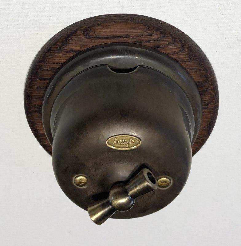 Ретро вимикач фарфоровий поворотного типу перехресний, Бронза, фурнітура дерево, бронза, хром